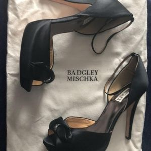 Badgley Mischka Black Osmond Satin Platforms